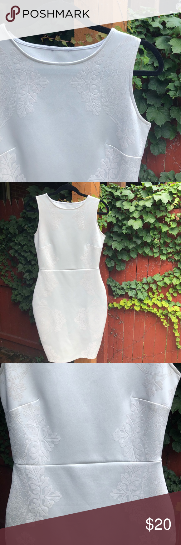 White Stretchy Dress White Dress Made Of Stretchy Material Says European Size 38 And Us 10 But I Would Say Fits A Stretchy Dress Clothes Design A Line Dress [ 1740 x 580 Pixel ]