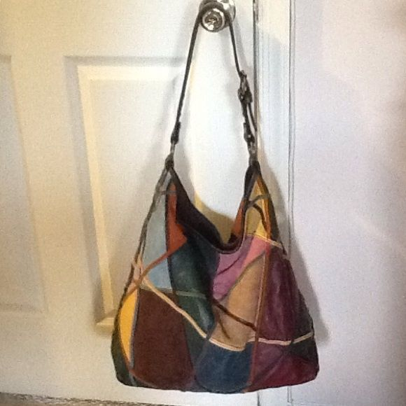 Lucky Brand Leather Suede Patchwork Hobo Bag Multi Color And Large Bucket Handbag Adjule Strap Great Condition