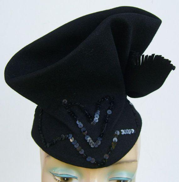 945a26577 1940's Vintage Cocktail Black Fur Felt Women's Hat with Sequins ...