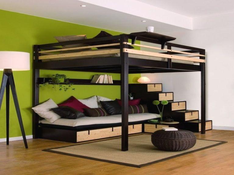 lit mezzanine bois 2 places avec lit