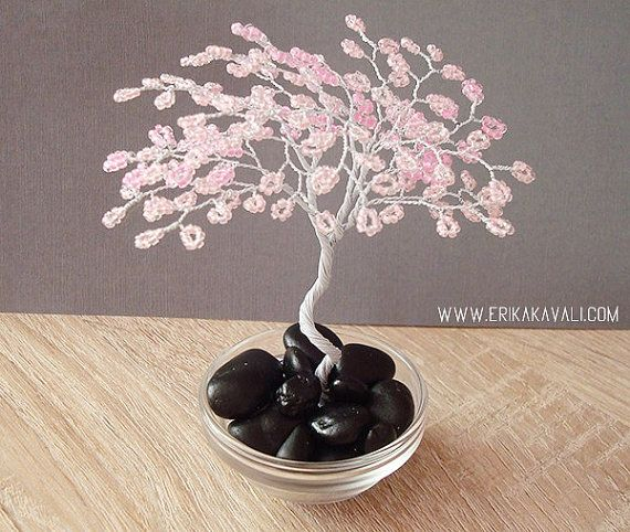 Cherry blossom wire tree sculpture with pink beads | perlen Bäume ...