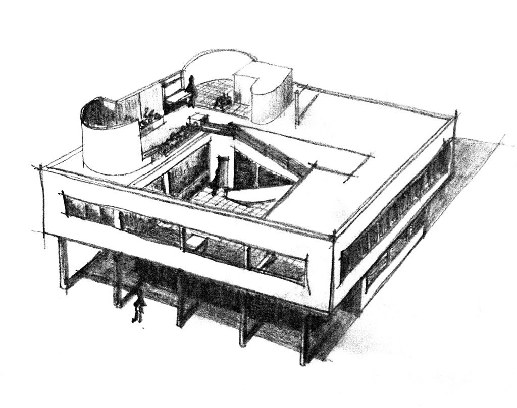 Villa savoye poissy le corbusier 1931 dessin karine for Programme de dessin architecture gratuit