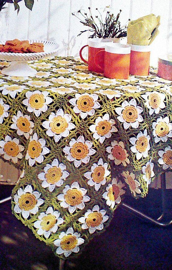 Vintage Crochet Daisy Tablecloth Pattern By MAMASPATTERNS On Etsy, $3.50