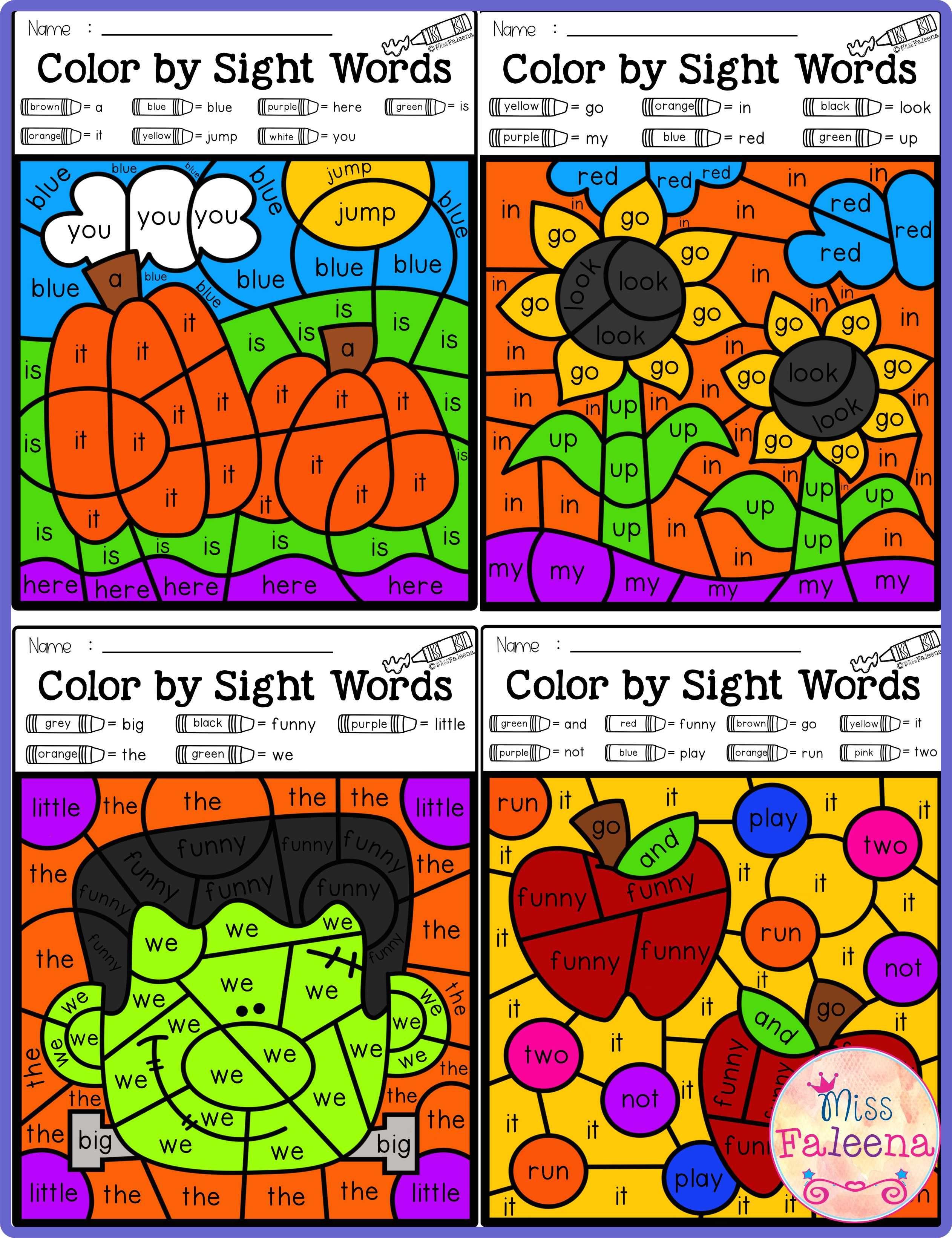 Fall Color By Code Sight Words Pre Primer Dengan Gambar