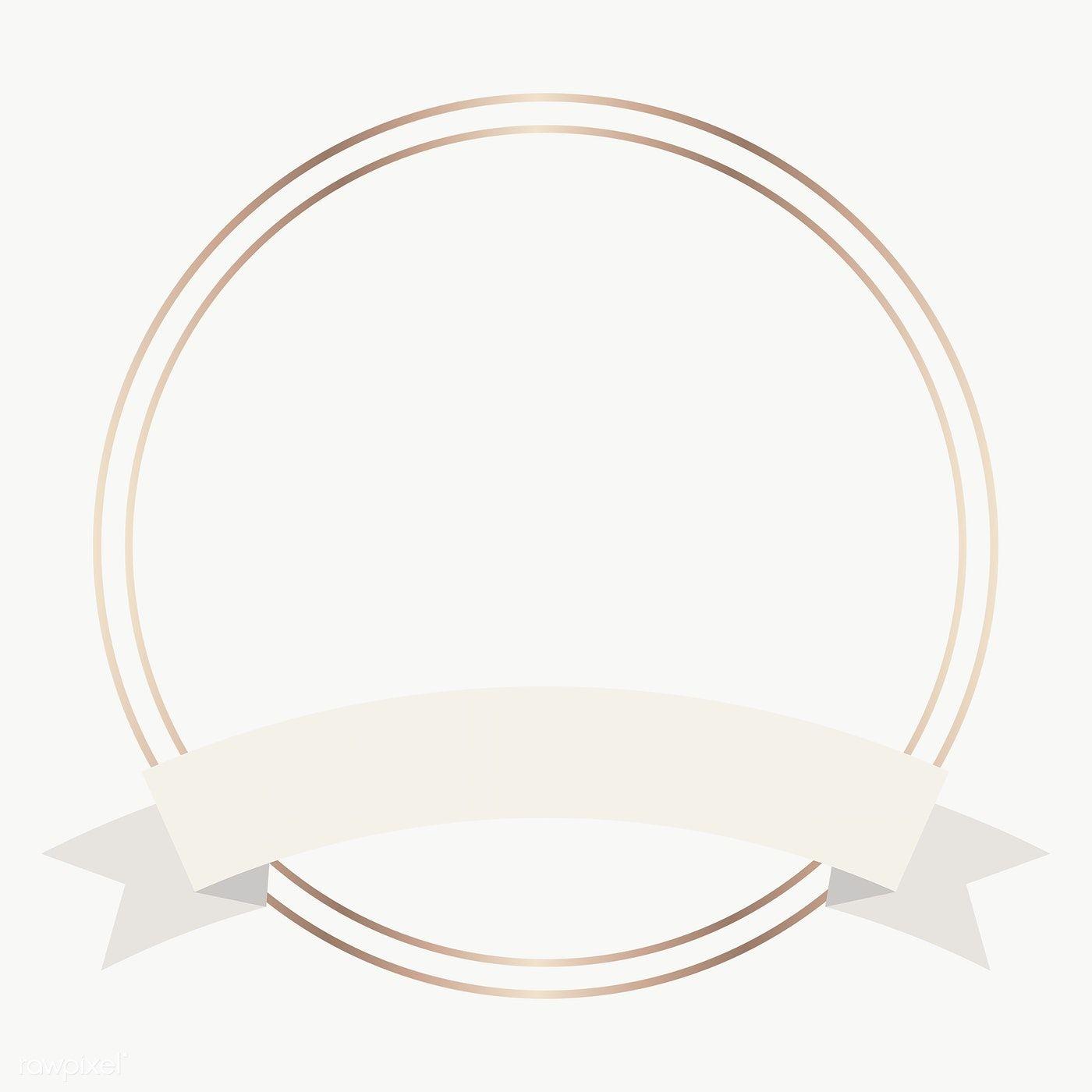 Download Premium Png Of Gold Frame With Beige Ribbon Banner Transparent In 2020 Frame Logo Gold Circle Frames Ribbon Banner