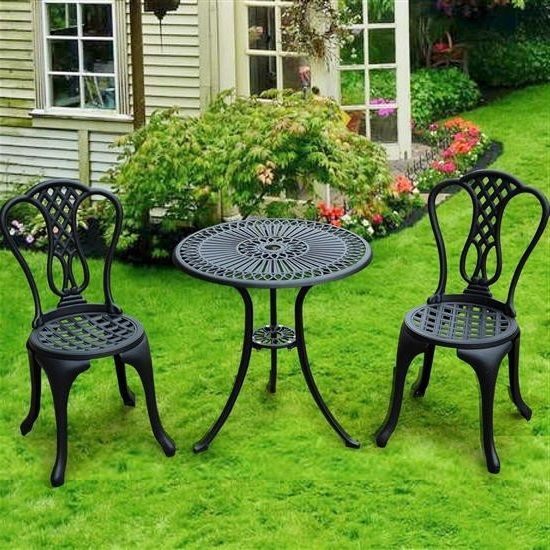 Garden Furniture Set Bistro Black Aluminium Table Chairs Outdoor Seat Patio  Yard
