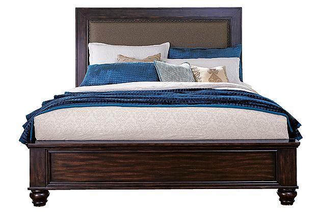 Dark Brown Roddinton California King Panel Bed View 2 Furniture Cushion Headboard