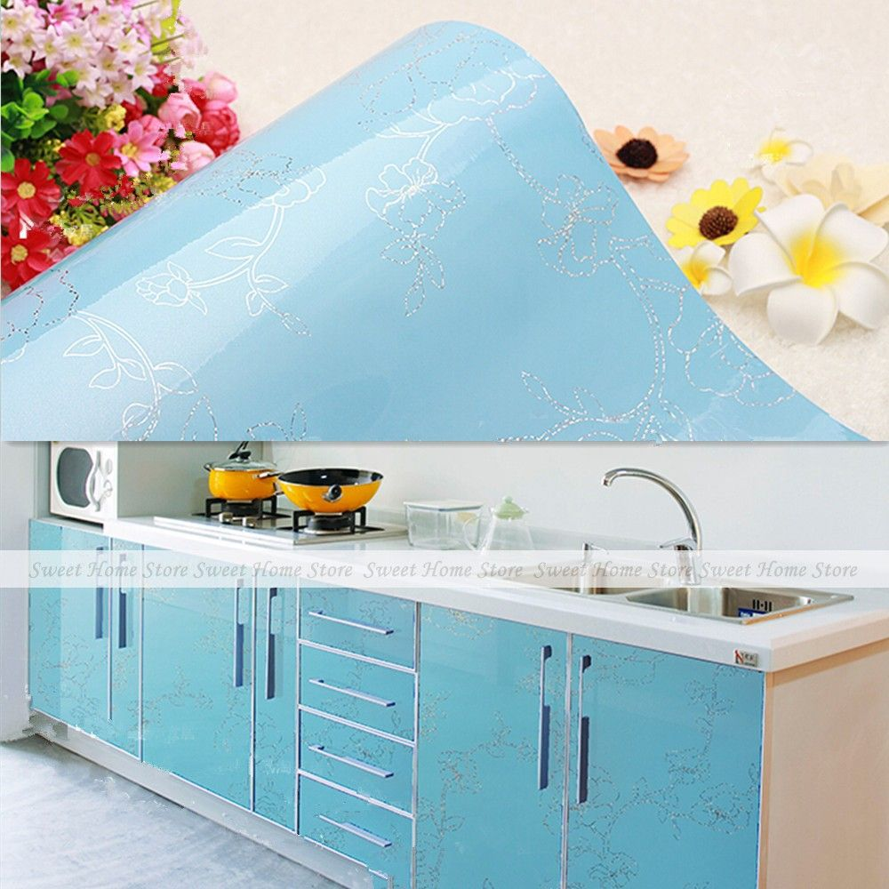 Gloss Blue Flower PVC Contact Paper Kitchen Cupboard Door Cover Drawer  Liner Wall Paper Sticker 61x50cm