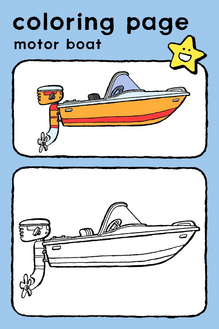 Motor Boat Kiddicolour Motor Boats Boat Drawing Simple Boat Drawing [ 1102 x 735 Pixel ]