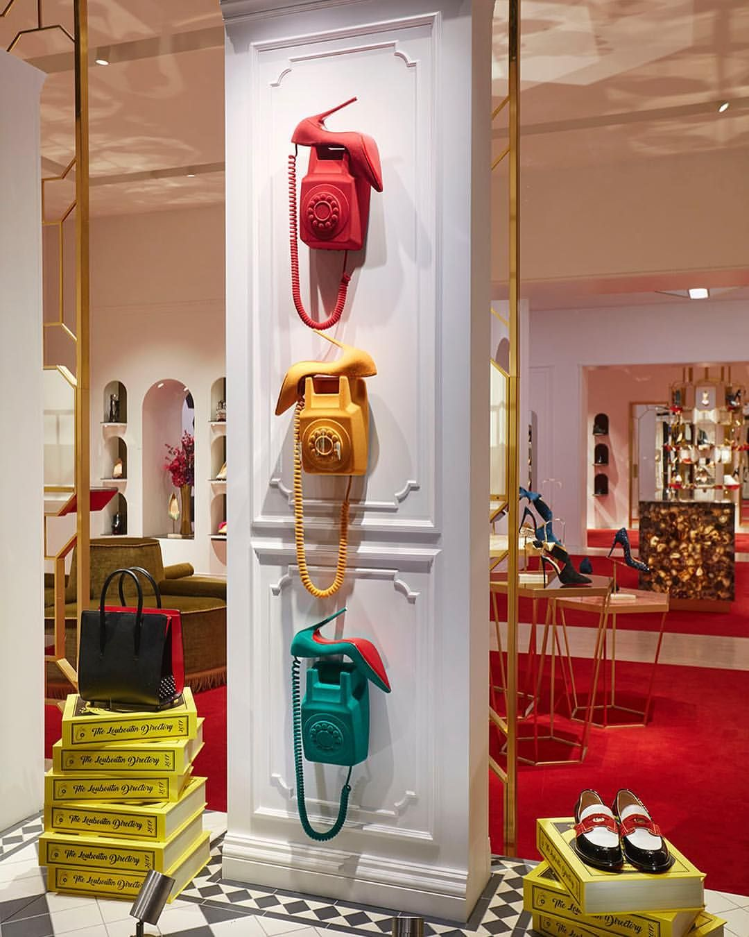"""CHRISTIAN LOUBOUTIN, Mount Street, London, UK, """"Ring ring!   The surreal and glamorous phones wiggle and shake"""", creative by StudioXAG, pinned by Ton van der Veer"""