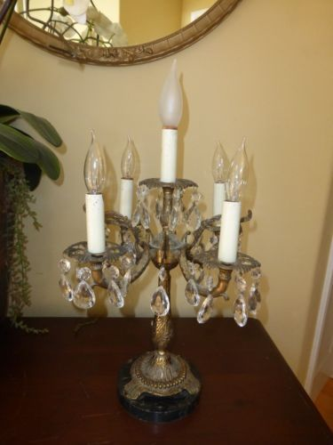 vintage french provincial crystal table lamp 5 arm candalabra brass marble base - Chandelier Table Lamp