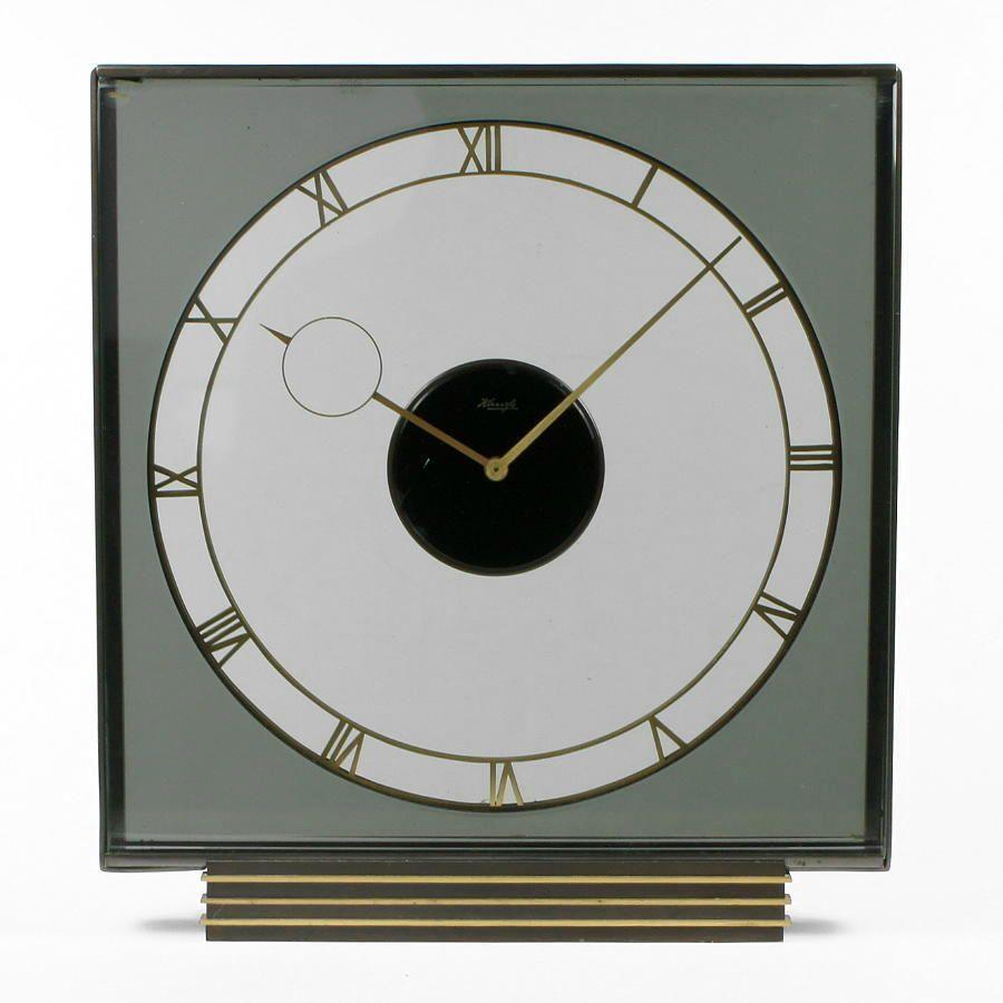 Kienzle vintage tischuhr heinrich m ller glas kaminuhr for Kaminuhr modern