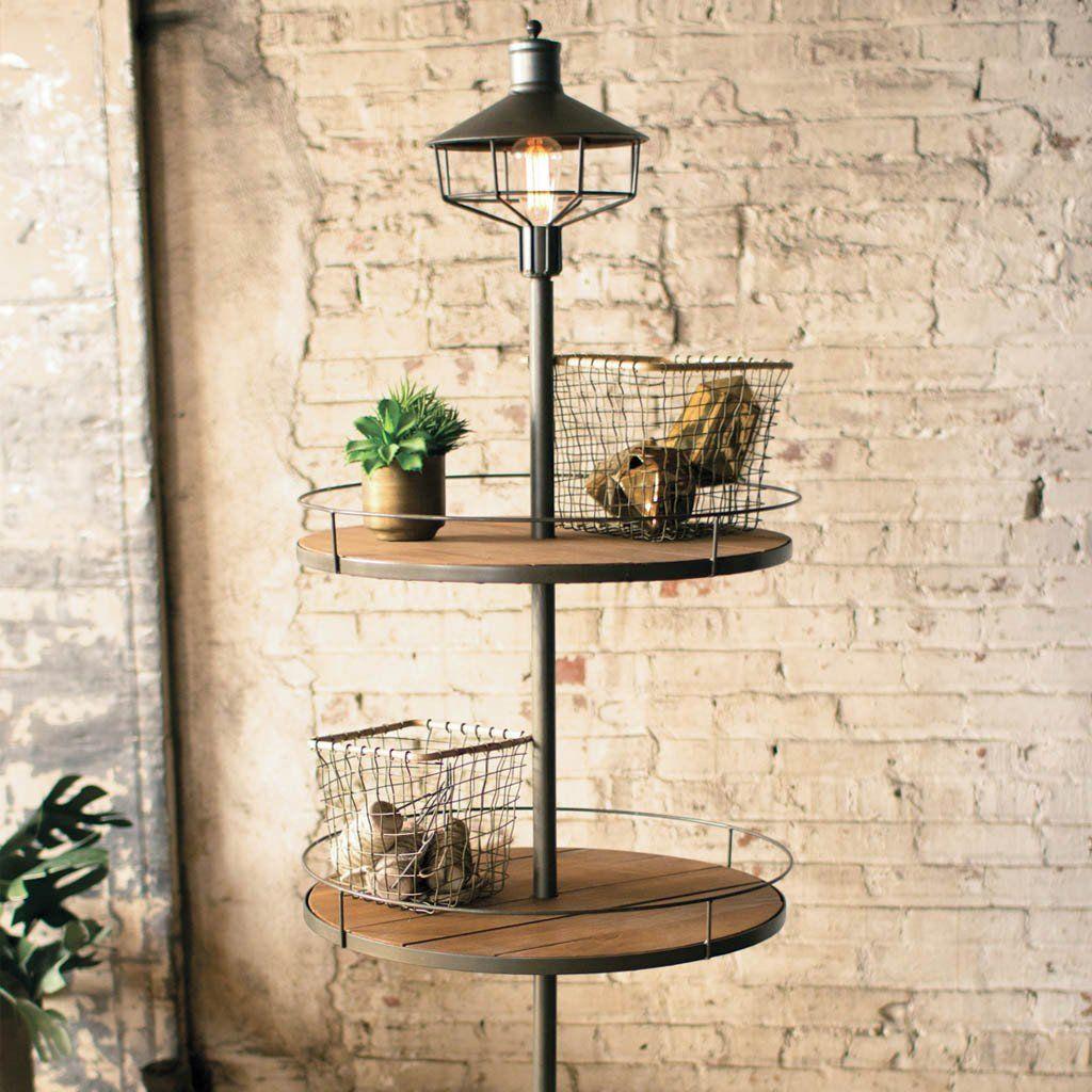 Three Tiered Display Floor Lamp Farmhouse floor lamps