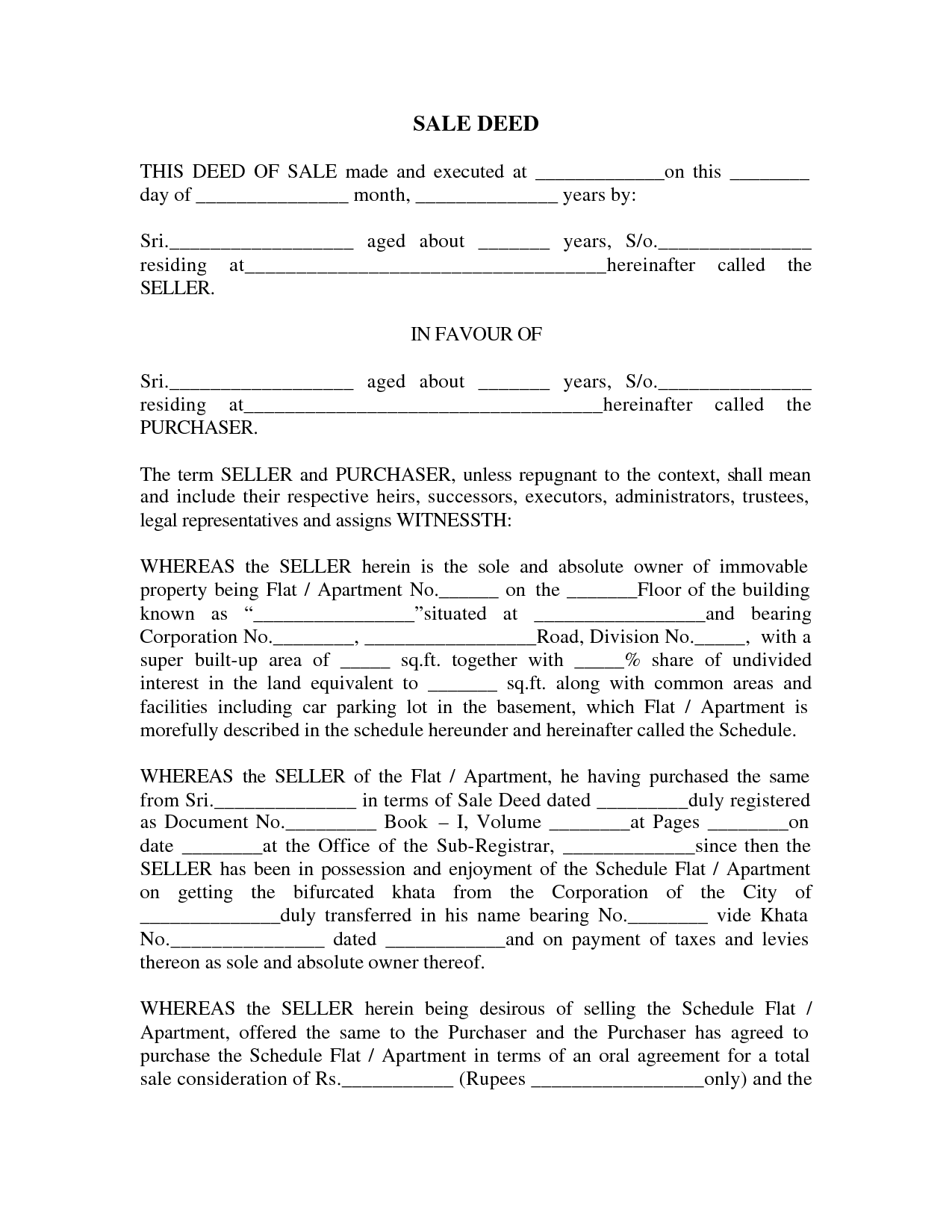 Sale Deed Format Images Sale Deed For Car Sale Deed Free