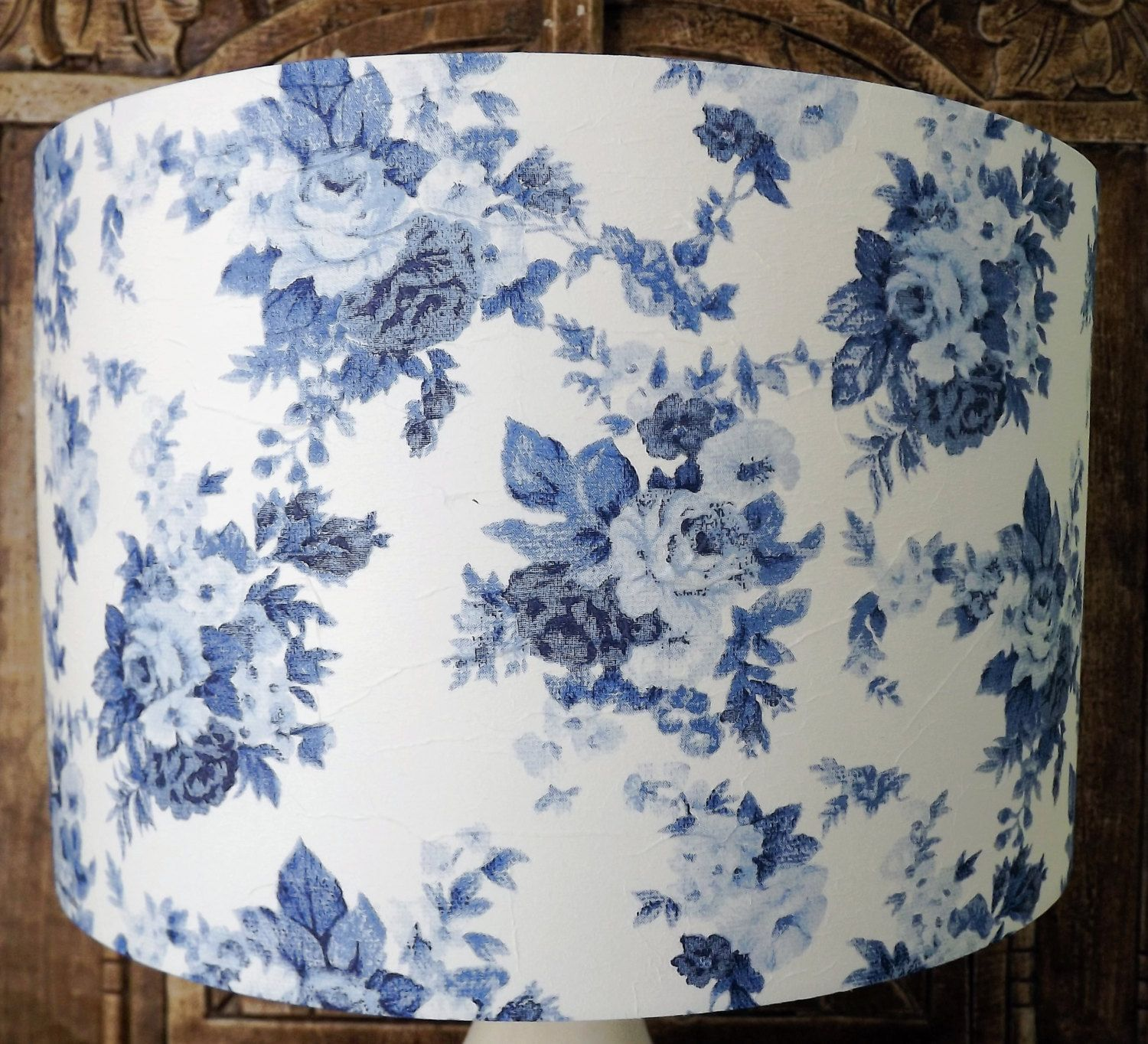Blue and white rose floral lampshade shabby chic lamp shade blue and white rose floral lampshade shabby chic lamp shade cottage bedroom free gift aloadofball Image collections