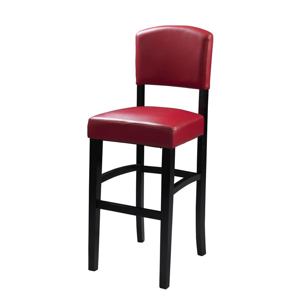 Stool Chair In Chinese Revolving Stand Monaco 30 Red Maple Cushioned Bar Brown With Pvc Seat Dark Espresso