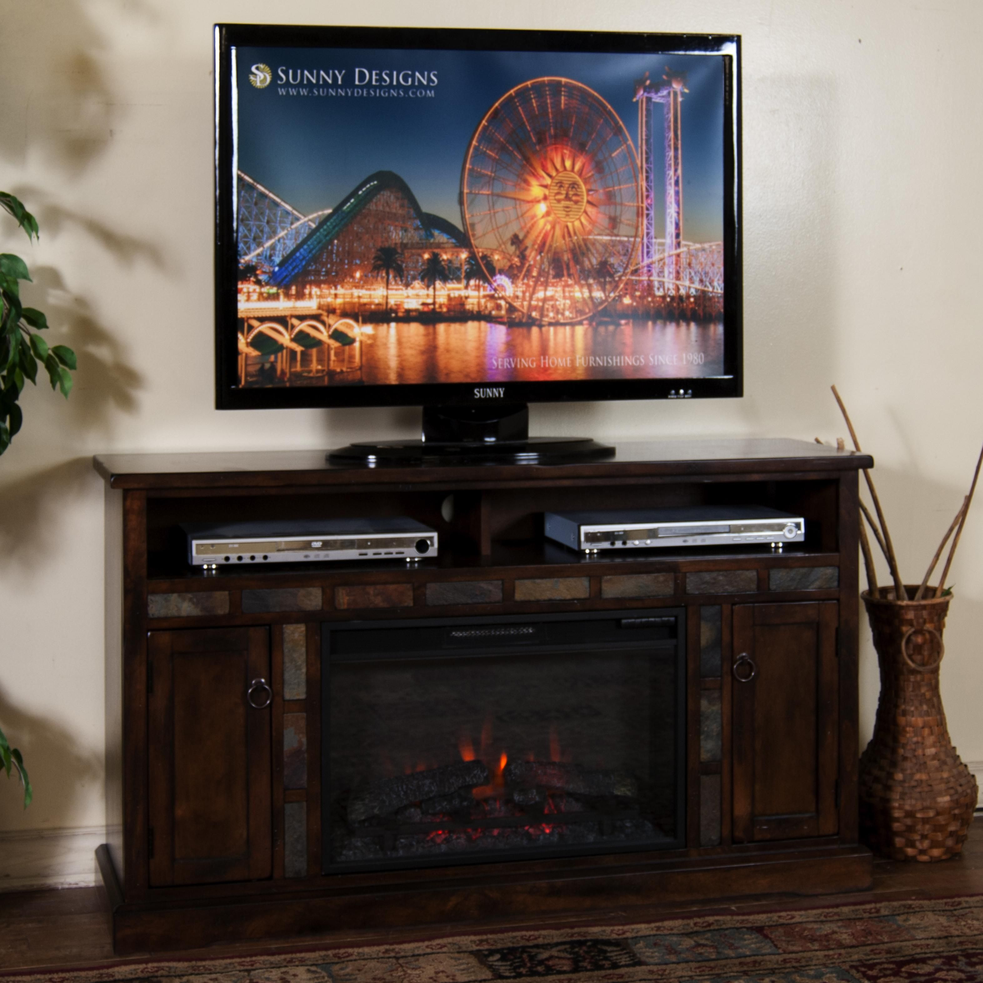 Fireplace TV Console by Sunny Designs in a darker shade...again what a better time of year to buy one of these?