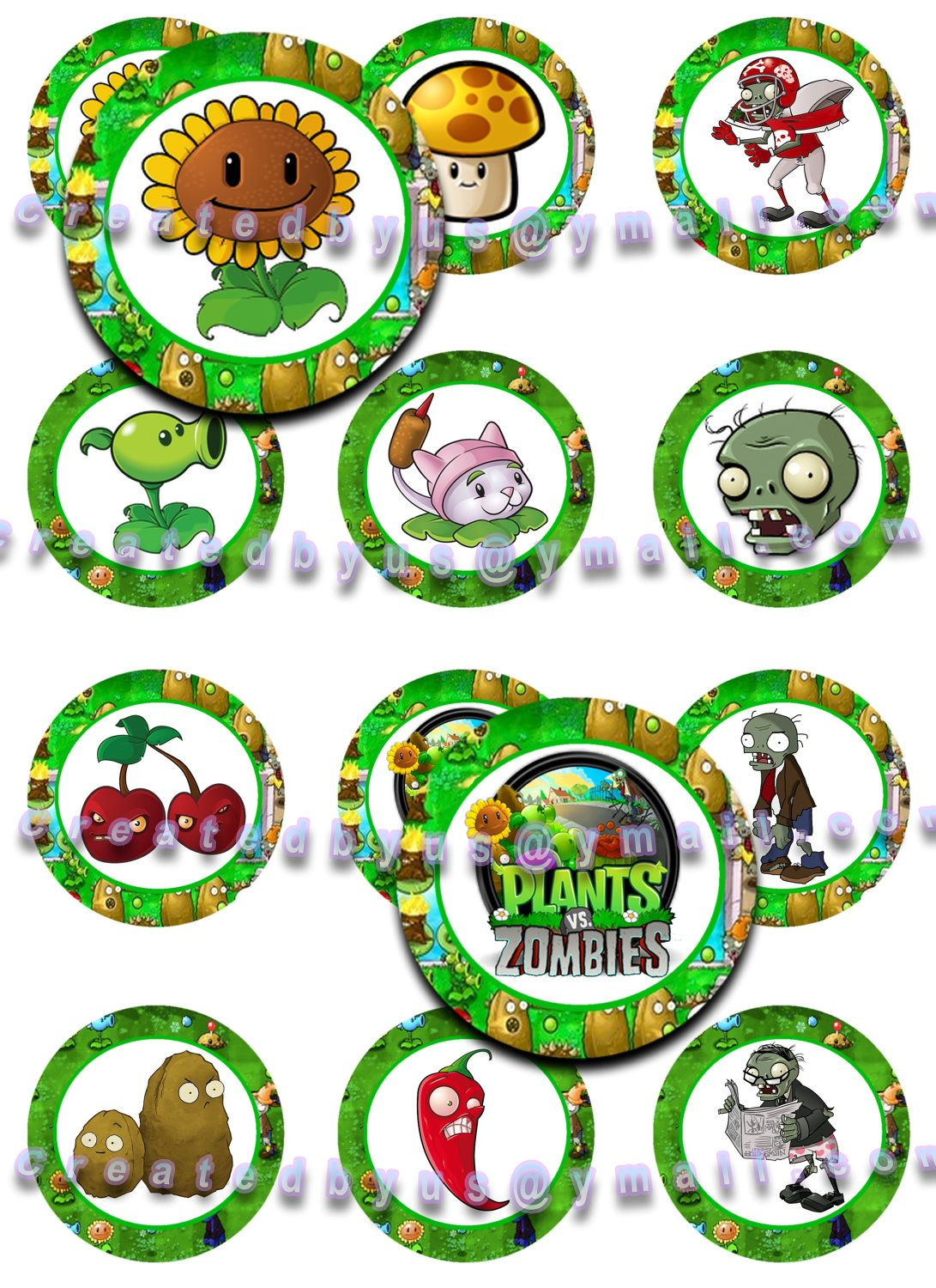 12 Precut EDIBLE PLANTS vs ZOMBIES Cupcake Toppers Cookie