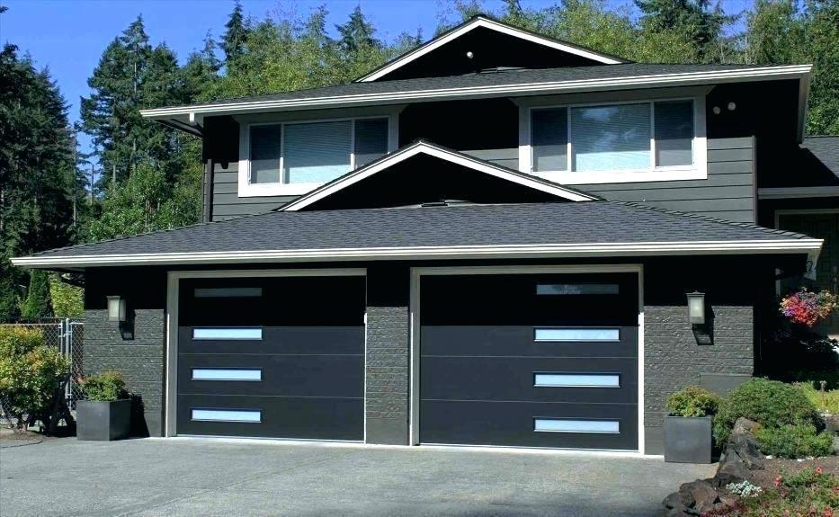 Dark Garage Doors With White Trim Gray House Black Door Dark Grey House Medium Size White Hous Modern Farmhouse Exterior Modern Garage Doors Garage Door Design