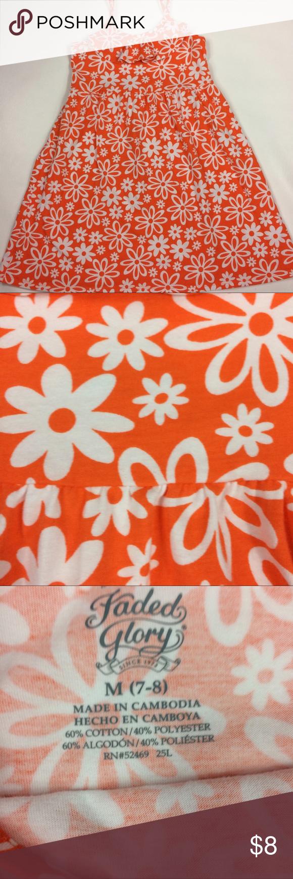 Orange dress casual  Orange Floral Girls Sundress Please see photos Dresses Casual  My
