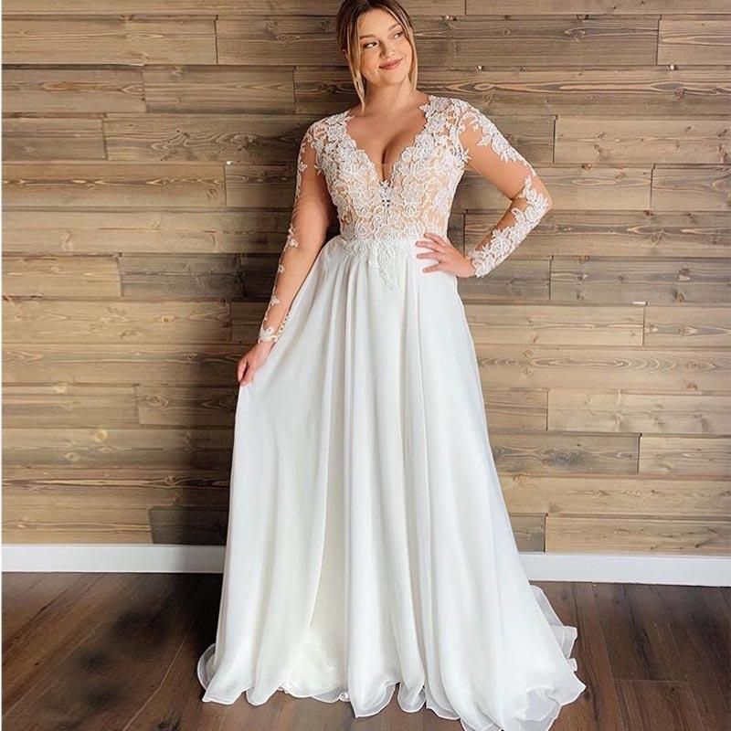 Photo of Plus Size Wedding Dress V Neck Lace Appliques Long Sleeve Illusion- – e25.de…