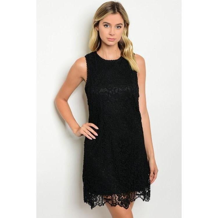 Black Crochet Lace Shift Dress