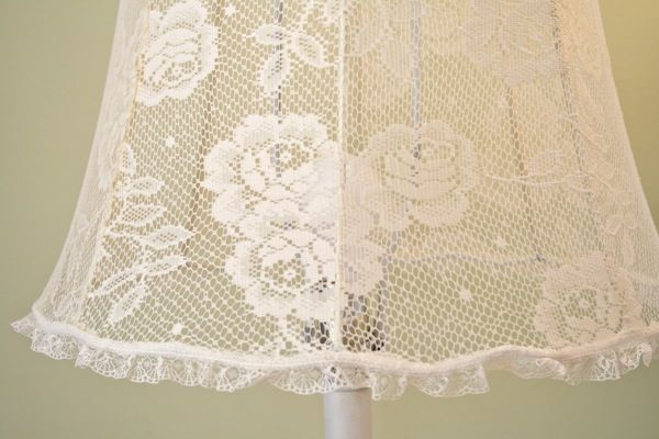 The Polka Dot Closet Covering A Lamp Shade With Lace Shabby