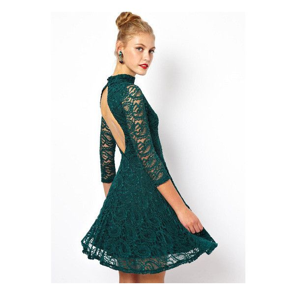 31++ Green lace long sleeve dress info