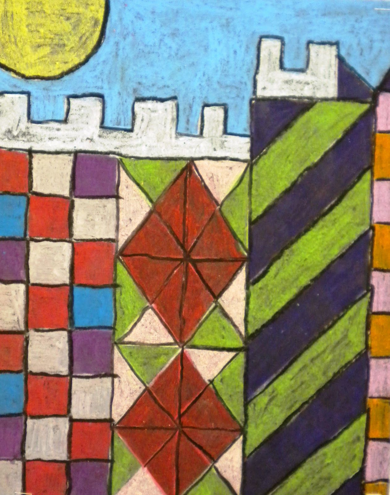 Castle And Sun Like Paul Klee Oil Pastels On Black Construction