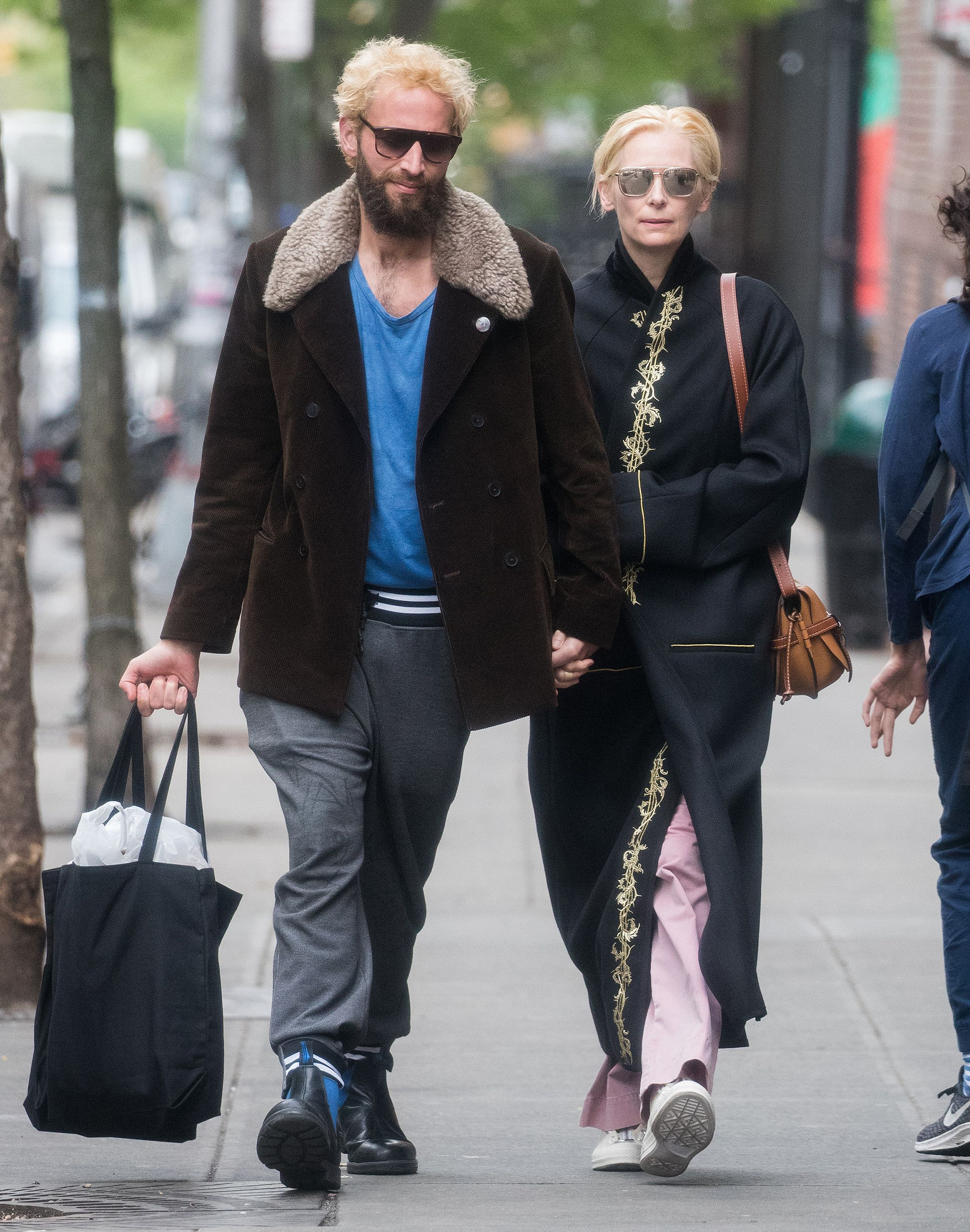 Tilda Swinton Steps Out With Partner Sandro Kopp In Rare Sighting Of Couple In New York City Tilda Swinton Sandro Brown Jacket
