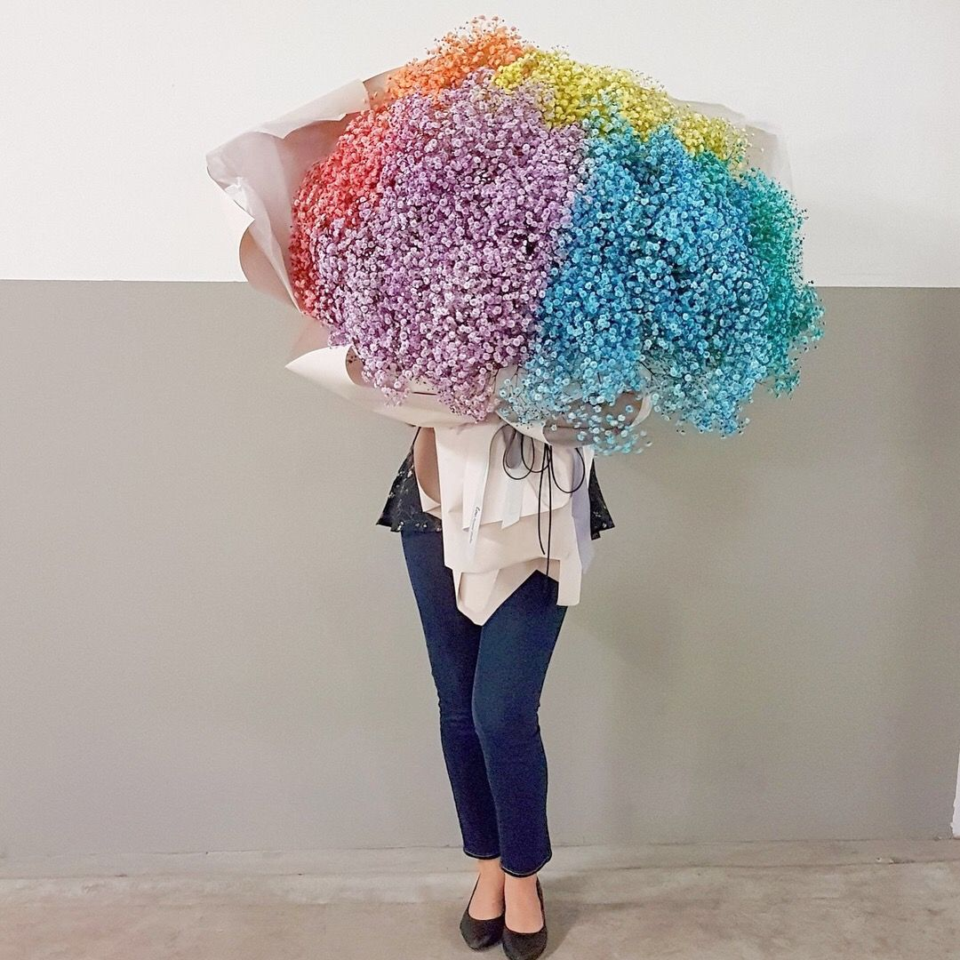 Giant Bouquet Of Rainbow Coloured Babybreath Pink Hydrangea Bouquet Bouquet Flower Gift