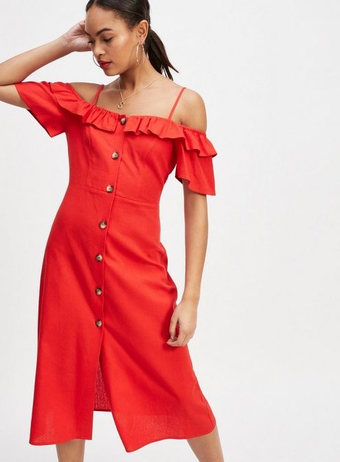 73a7d3c66 Miss Selfridge Red Buttoned Bardot Dress ($38) ❤ liked on Polyvore  featuring dresses, red, red linen dress, linen dress, miss selfridge dre…