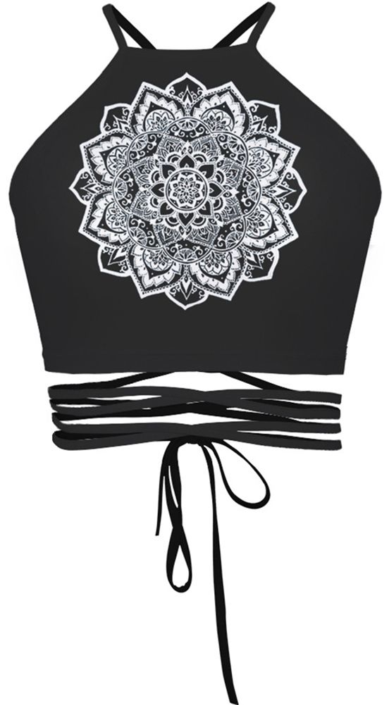 Women Flower Halter Backless Back Tie Black Crop Tops