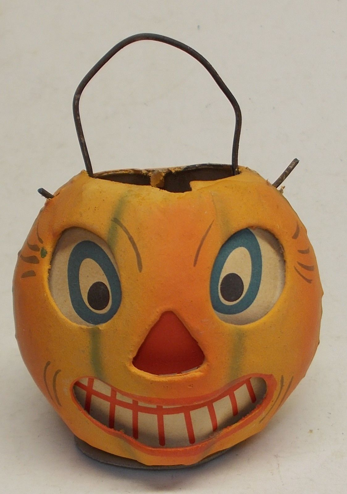 Vintage Halloween Striped Jack O Lantern 1940s German JOL Pressed - Homemade Halloween Decorations Pinterest