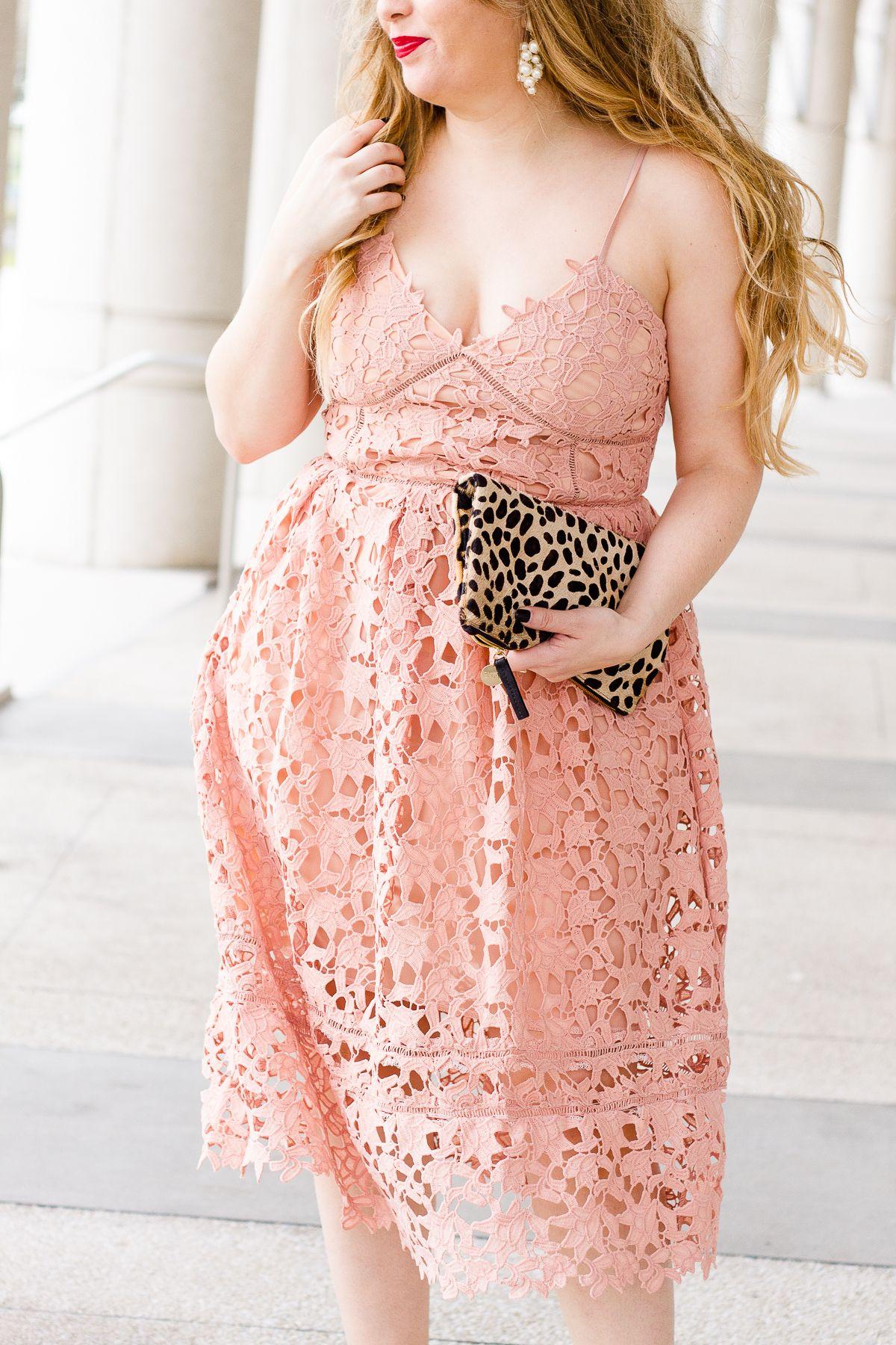 Valentine\'s Day Pink Lace Midi Dress
