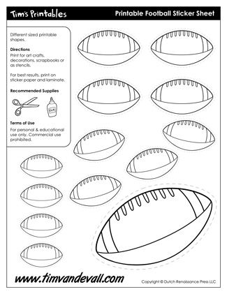 Football Templates Printable Sticker Sheets In Black White - Sticker sheet template