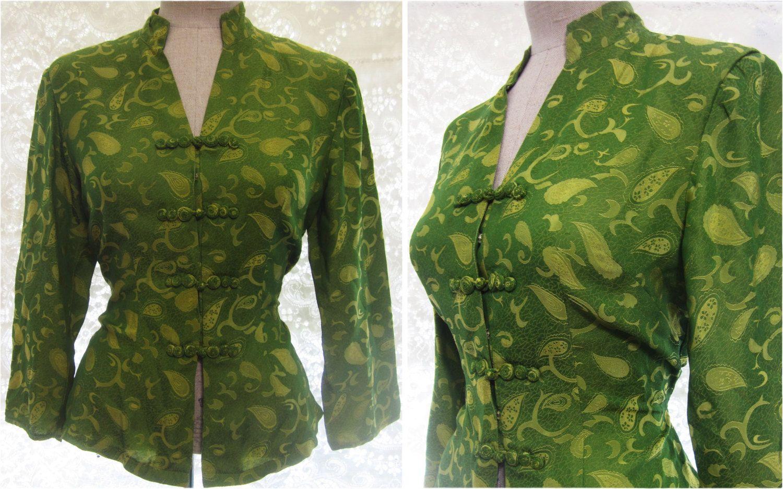 Chartreuse Green Asian Oriental-Bluse mit von VintageDressShoppe