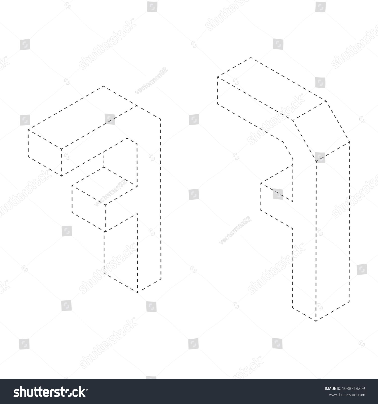 Number Seven 3d Isometric Black And White Alphabet Number