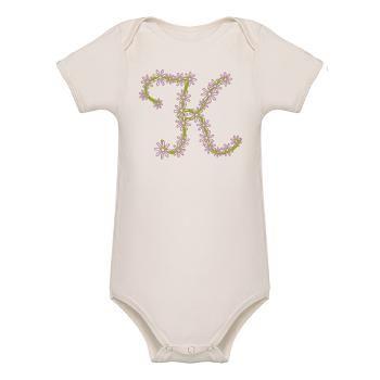 Monogram k Organic Baby Bodysuit  Beautiful Flower Monogram, perfect gift for birthday, baby shower, or any gift giving occasion  $24.09