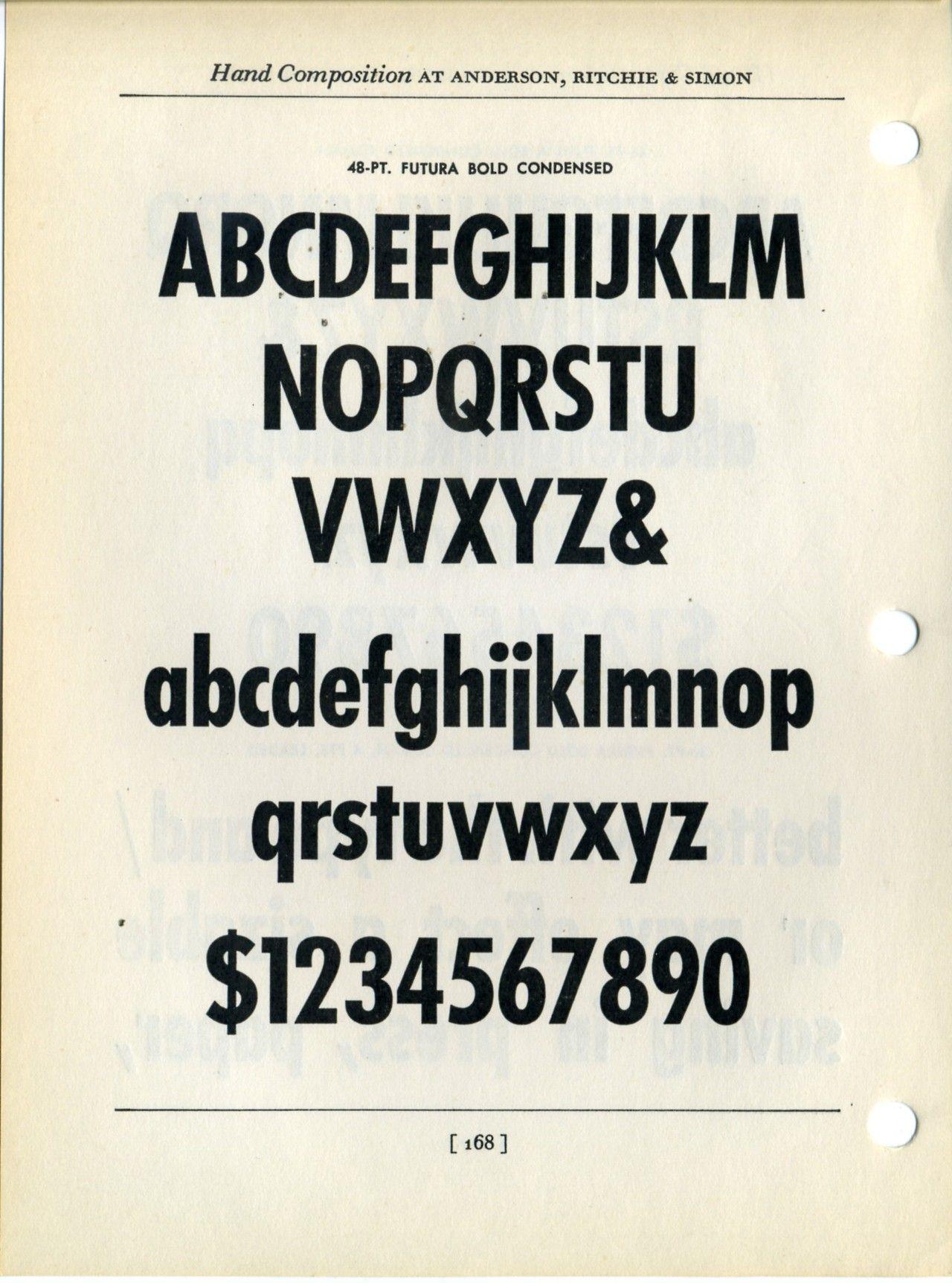 Futura Bold Condensed font specimen | Typography | Condensed