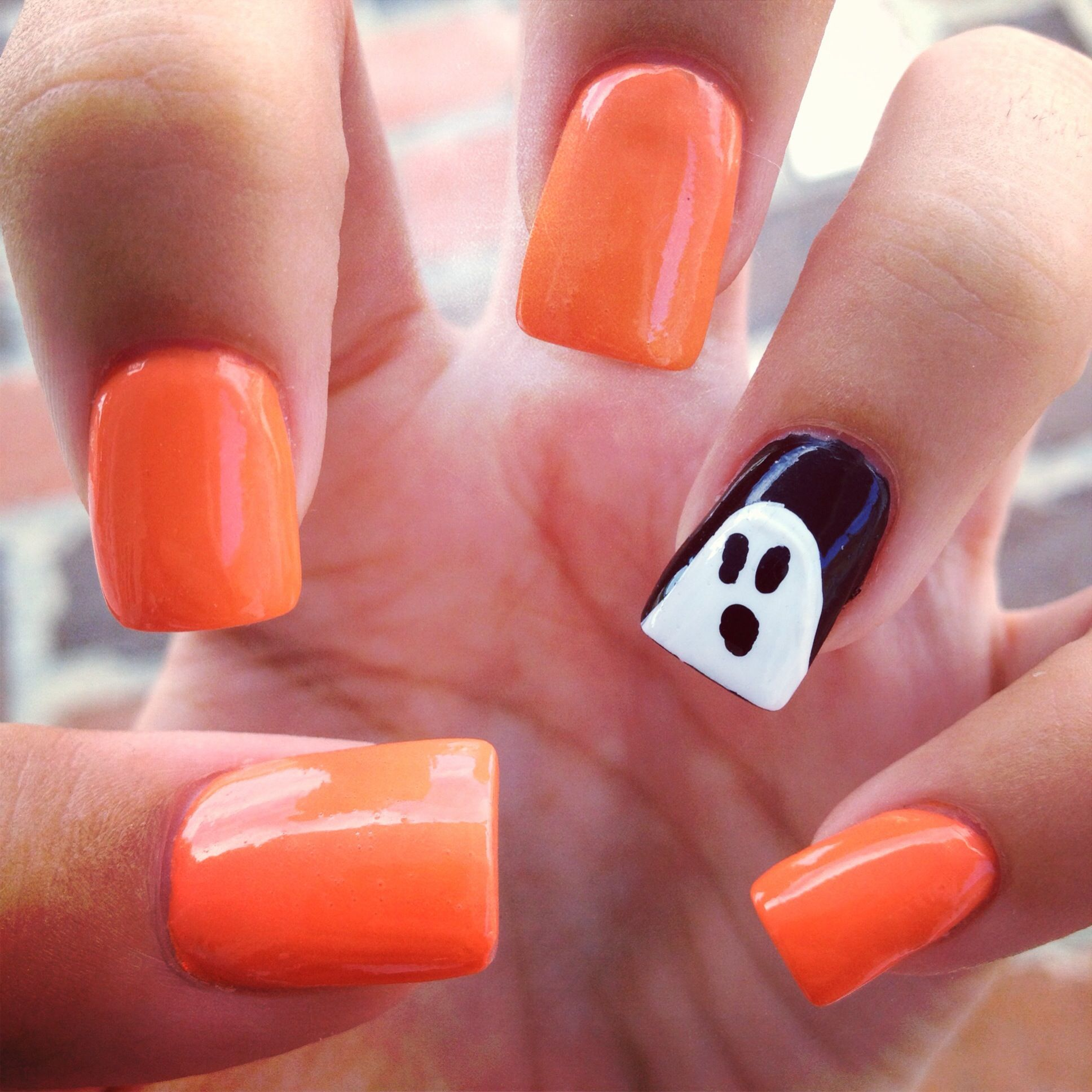 Halloween nails #acrylic #nails #ghost #festive #halloween ...