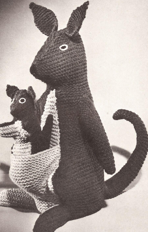 Kangaroos Stuffed Animal Toy Vintage Knitting Pattern | knit me ...