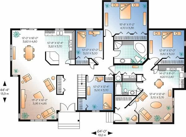 Home floor plan p r o j e c t s h o u s e s pinterest for Simple bungalow house design with floor plan