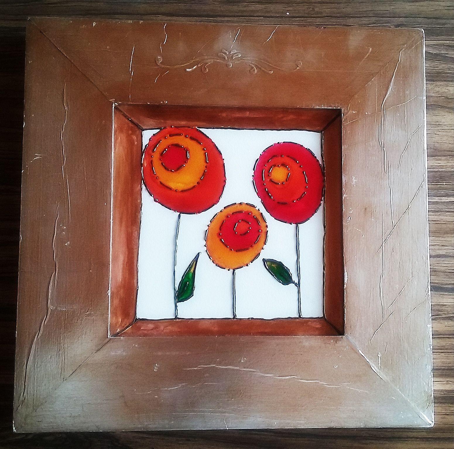 Cuadro en baldosa decorado con pinturas para vitral. marco en ...
