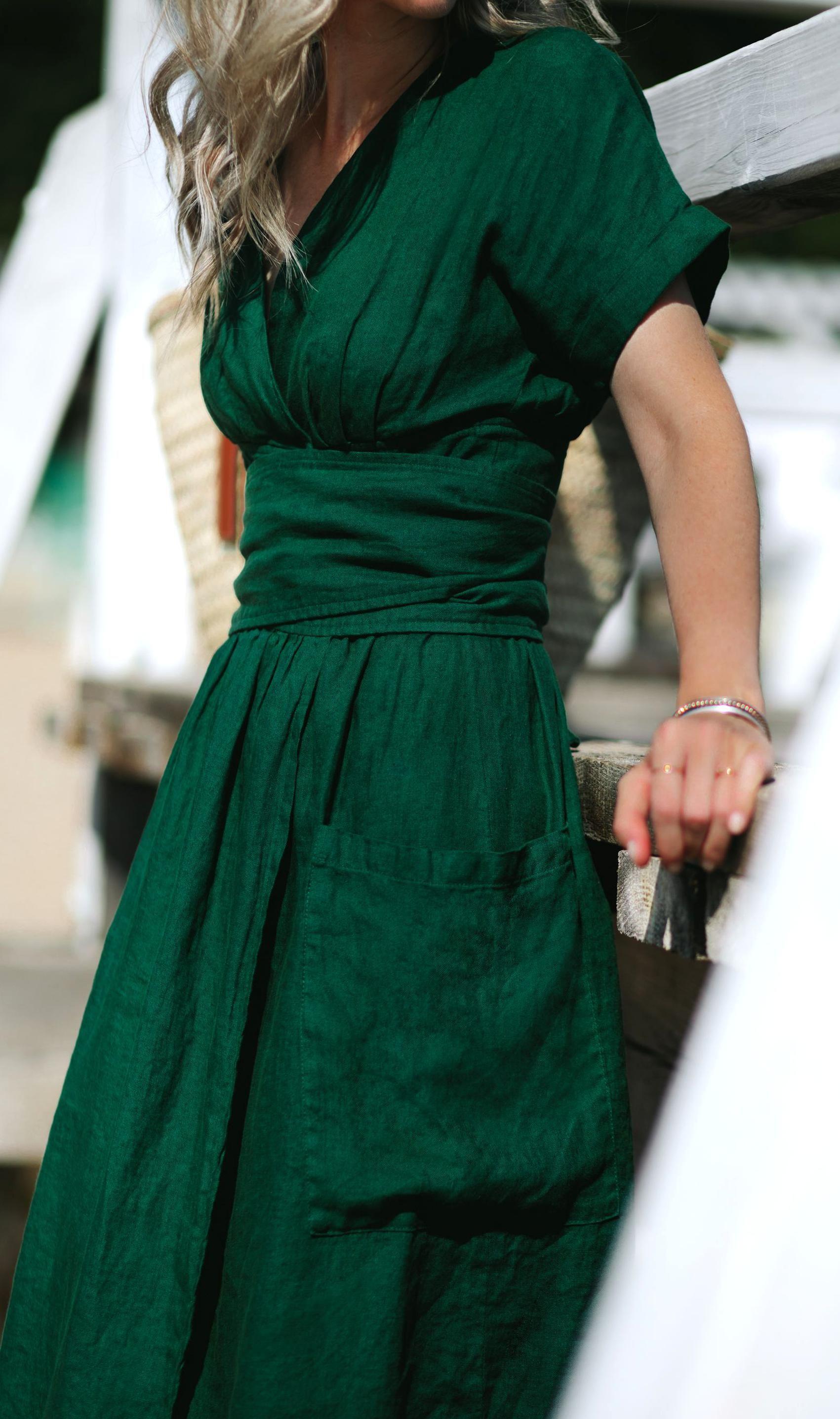 Linen Dress Made From 100 Linen 119 In 2020 Backyard Wedding Dress Making Green Dress