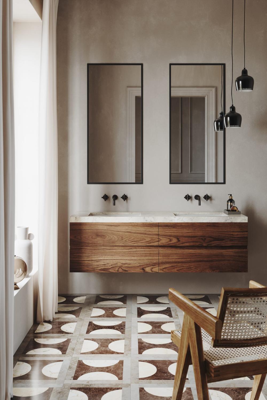 Photo of Une salle de bains aux accents rétro