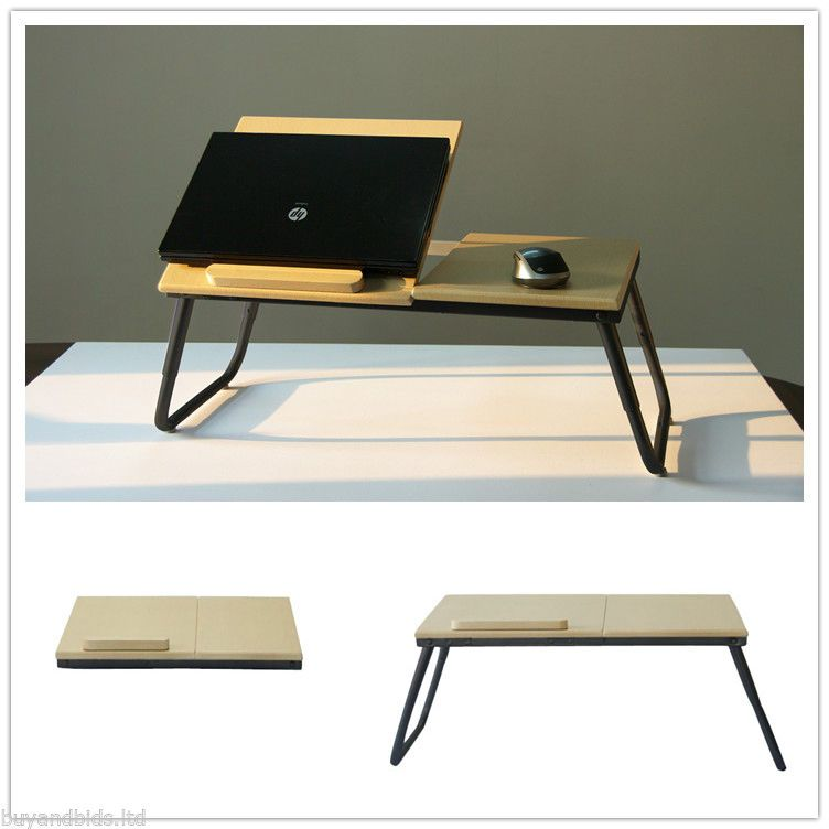 portable folding laptop table stand desk wooden lap bed tray computer notebook wooden. Black Bedroom Furniture Sets. Home Design Ideas