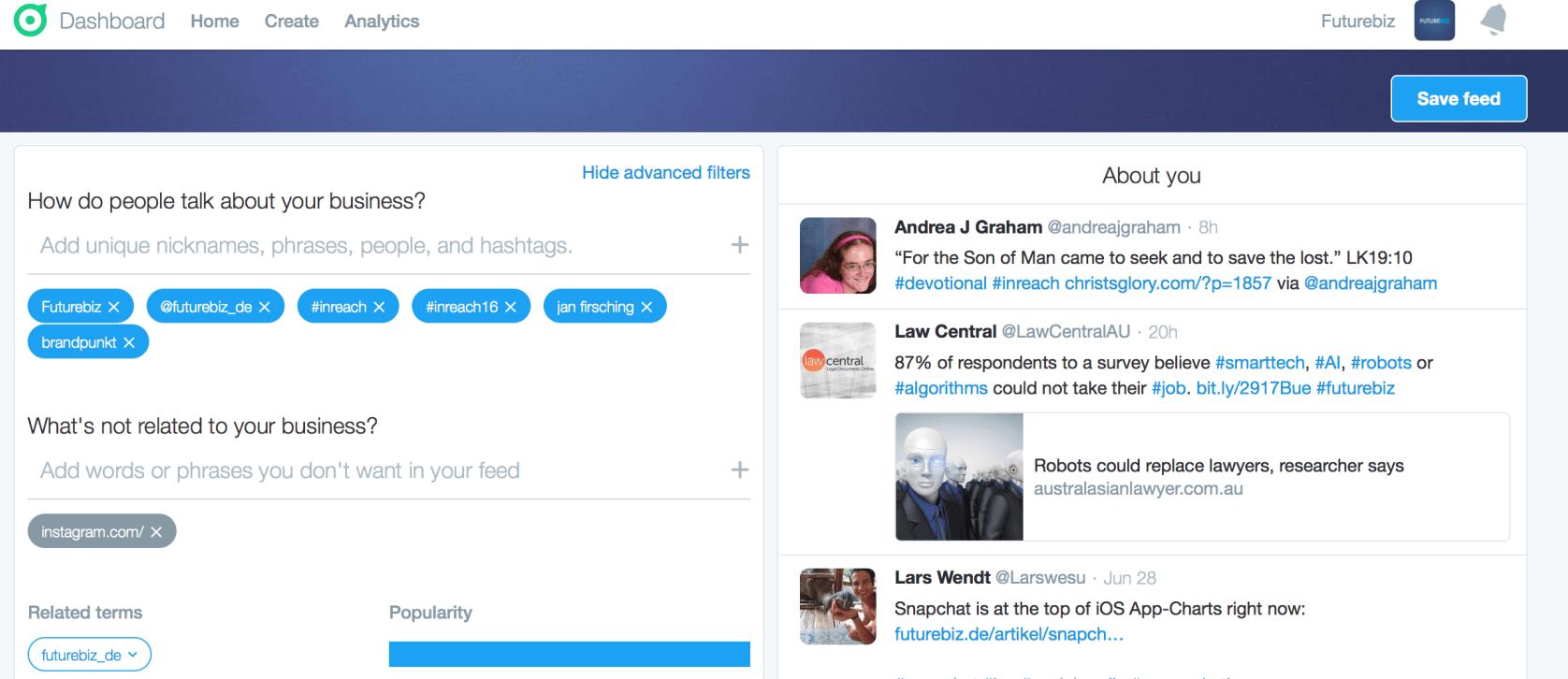 Twitter Dashboard Unternehmen - Keywords verfolgen