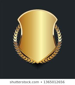 Photo of Vetor stock de Golden Shield Golden Laurel Wreath (livre de direitos) 1365012656