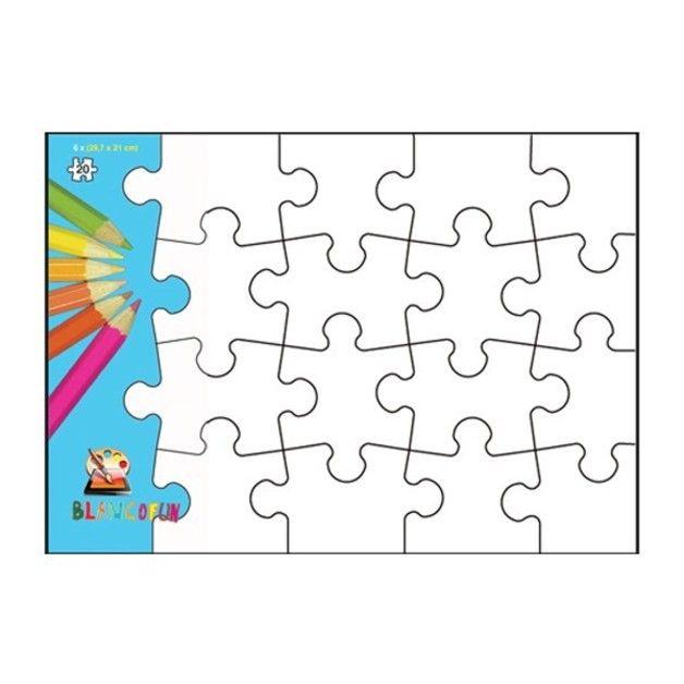 white line puzzle a4 zum selbst bemalen 6 st ck je 20 teile puzzles ganz einfach selber. Black Bedroom Furniture Sets. Home Design Ideas
